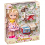 "Кукла Катенька 16,5 см с набором мебели ""Стирка"",  ВОХ 18×5×20 см,  арт.M6608."