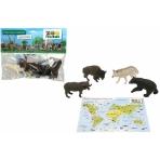 """Игровой набор """"Животные"""" с картой обитания внутри (4 шт в наборе) (Zooграфия)"""