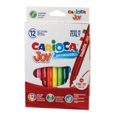 """Фломастеры CARIOCA (Италия) """"Joy"""", 12 цветов, суперсмываемые, вентилируемый колпачок, картонная коробка, 40614"""