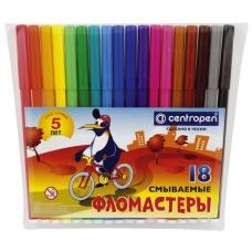 """Фломастеры CENTROPEN, 18 цветов, """"Пингвины"""", смываемые, вентилируемый колпачок, полибег, 7790/18"""