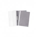Папка -Скоросшиватель А4ф 100/120мкм Серая Пластиковая прозрачный верх (без ед штрихкода)