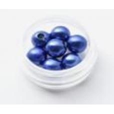 Бусины под жемчуг синий 8мм (2гр)