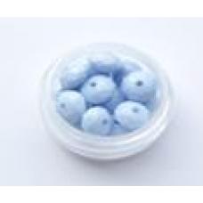 Бусины пластик голубой таблетка гранен 6мм (3гр)