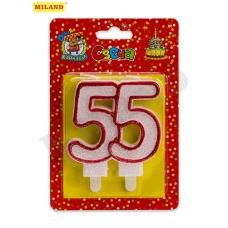Свеча для торта. Значимые даты. Цифра 55, красная С-2480