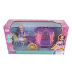 Карета в наборе с куколкой и лошадкой, свет, звук, эл.пит.AG13*3шт.вх. в комп., кор.
