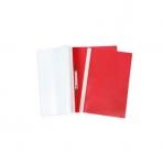 Папка -Скоросшиватель А4ф 100/120мкм Красная Пластиковая прозрачный верх ASp_04603   Хатбер