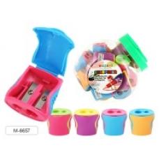 Точилка пластиковая, LEDS, 2 отверстия для заточки, с контейнером для стружки, ассорти цветов, пластиковая банка