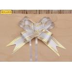Бант-бабочка Золотые линии (3 см.) белый БЛ-8083