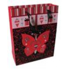 Пакет подарочный с бабочкой 260*335*90